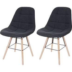 2x Esszimmerstuhl MCW-A60 II, Stuhl Küchenstuhl, Retro 50er Jahre Design ~ Stoff/Textil dunkelgrau - Bild 1