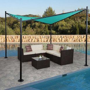 Pergola MCW-A41, Garten Pavillon Sonnensegel, stabiles 6cm Stahl-Gestell 3x3m ~ türkis - Bild 1