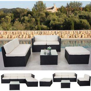 Poly-Rattan-Garnitur MCW-D24, Garten-/Lounge-Set Sofa ~ anthrazit, Polster creme ohne Deko-Kissen - Bild 1