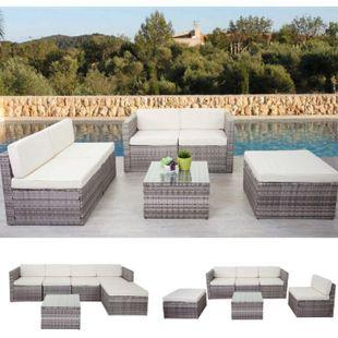 Poly-Rattan-Garnitur MCW-D24, Garten-/Lounge-Set Sofa ~ grau, Polster creme - Bild 1