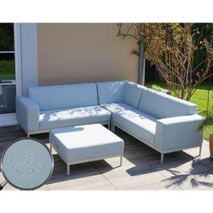 Alu-Garten-Garnitur MCW-C47, Sofa, Outdoor Stoff/Textil ~ blau ohne Ablage, ohne Kissen - Bild 1
