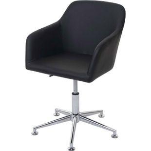 Esszimmerstuhl MCW-A74, Drehstuhl Loungesessel, höhenverstellbar ~ Kunstleder, schwarz - Bild 1