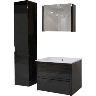 Badezimmerset XL MCW-B19, Waschtisch Spiegelschrank Hängeschrank, hochglanz ~ schwarz - Bild 1