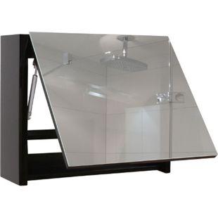 Spiegelschrank MCW-B19, Wandspiegel Badspiegel Badezimmer, aufklappbar hochglanz 48x79cm ~ schwarz - Bild 1