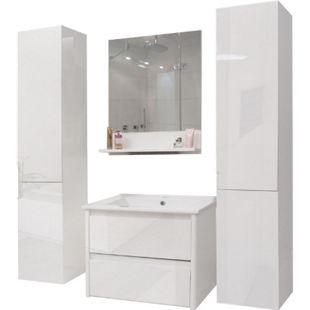 Badezimmerset MCW-B19, Waschtisch Wandspiegel 2x Hängeschrank, hochglanz ~ weiß - Bild 1