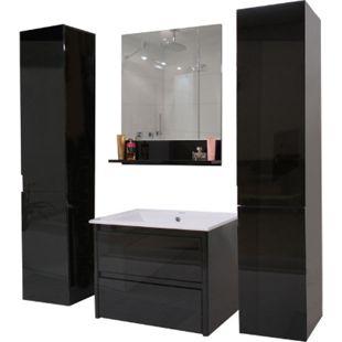 Badezimmerset MCW-B19, Waschtisch Wandspiegel 2x Hängeschrank, hochglanz ~ schwarz - Bild 1