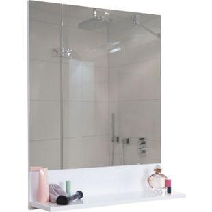 Wandspiegel mit Ablage MCW-B19, Badspiegel Badezimmer, hochglanz 75x60cm ~ weiß - Bild 1