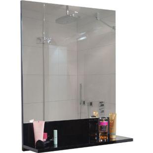 Wandspiegel mit Ablage MCW-B19, Badspiegel Badezimmer, hochglanz 75x60cm ~ schwarz - Bild 1