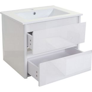 Waschbecken + Unterschrank MCW-B19, Waschbecken Waschtisch Badezimmer, hochglanz 50x60cm ~ weiß - Bild 1