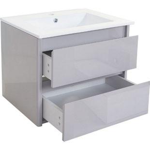 Waschbecken + Unterschrank MCW-B19, Waschbecken Waschtisch Badezimmer, hochglanz 50x60cm ~ grau - Bild 1