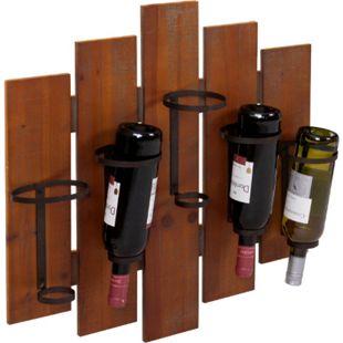 Weinregal MCW-B99, Wandregal Flaschenhalter, Holz Metall für 5 Flaschen 60x60x12cm - Bild 1