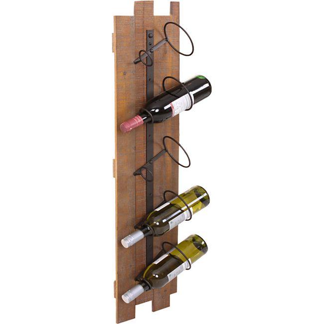 Weinregal MCW-B99, Wandregal Flaschenhalter, Holz Metall für 5 Flaschen 96x23x14cm - Bild 1