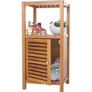 Badregal MCW-B18, Badezimmer Badschrank Standregal mit Tür, Bambus ~ 80x36x34cm - Bild 1
