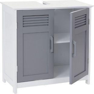 Waschbeckenunterschrank MCW-A85, Badschrank 60x60x30cm ~ grau - Bild 1
