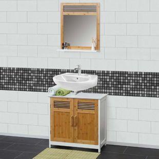 Badezimmerset MCW-A85, Waschbeckenunterschrank Wandspiegel Bambus, weiß - Bild 1