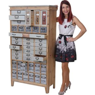 Apotheker-Schrank MCW-A43, Kommode, Tanne Holz massiv Vintage Shabby-Look 152x81x34cm - Bild 1
