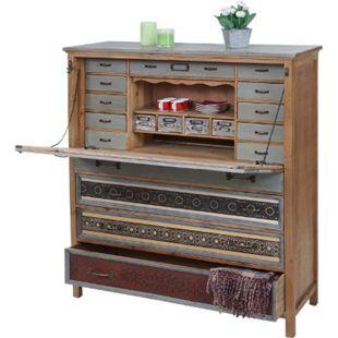 Sekretär MCW-A43, Kommode Schrank, Tanne Holz massiv Vintage Patchwork 113x99x36cm - Bild 1
