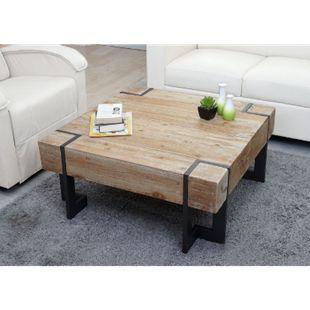 Couchtisch MCW-A15, Wohnzimmertisch, Tanne Holz rustikal massiv ~ 70x70cm - Bild 1