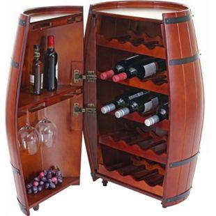 Weinregal MCW-T877, Flaschenregal Fass Holzregal, mit Tür 85x52x52cm 23 Flaschen - Bild 1
