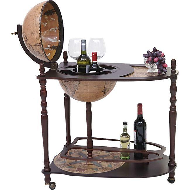 Globusbar mit Tisch MCW-T875, Minibar Hausbar Tischbar, Weltkugel rollbar Eukalyptusholz - Bild 1