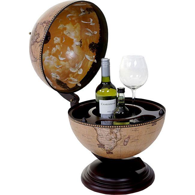 Globus Tischbar MCW-T873, Minibar Tischbar, Weltkugel für 3 Flaschen - Bild 1