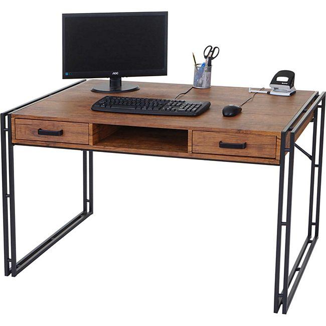 Schreibtisch MCW-A27, Bürotisch Computertisch, 122x70cm 3D-Struktur ~ Wildeiche-Optik - Bild 1