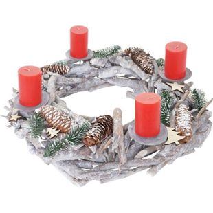 Tischkranz XXL rund, Weihnachtsdeko Adventskranz, Holz Ø 48cm weiß-grau ~ mit Kerzen, rot - Bild 1
