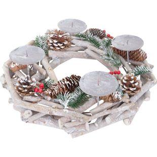 Tischkranz rund, Weihnachtsdeko Adventskranz, Holz Ø 35cm weiß-grau ~ ohne Kerzen - Bild 1