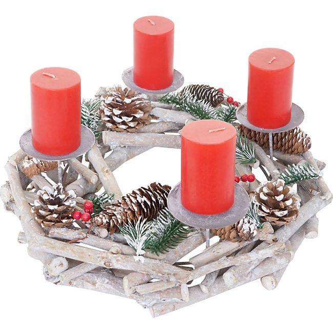 Tischkranz rund, Weihnachtsdeko Adventskranz, Holz Ø 35cm weiß-grau ~ mit Kerzen, rot - Bild 1