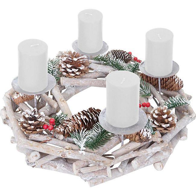 Tischkranz rund, Weihnachtsdeko Adventskranz, Holz Ø 35cm weiß-grau ~ mit Kerzen, weiß - Bild 1