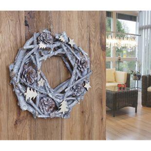 Dekokranz Tannenzapfen rund, Türkranz Tischkranz Weihnachtsdeko Kranz, Holz Ø 30cm weiß-grau - Bild 1