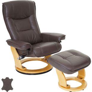 MCA Relaxsessel Halifax, Fernsehsessel Hocker, Echtleder 130kg belastbar ~ braun, naturbraun - Bild 1