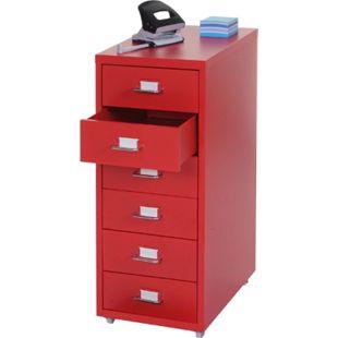 Rollcontainer Preston T851, Schubladenschrank Stahlschrank, 69x28x44cm 6 Schubladen ~ rot - Bild 1