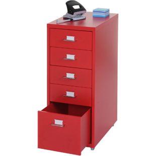 Rollcontainer Preston T851, Schubladenschrank Stahlschrank, 69x28x44cm 5 Schubladen ~ rot - Bild 1
