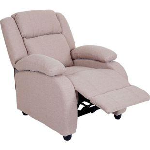 Fernsehsessel Glasgow, Relaxsessel Liege Sessel, Stoff/Textil ~ creme-grau - Bild 1