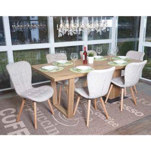 6x Esszimmerstuhl MCW-A87, Stuhl Küchenstuhl, Retro 50er Jahre Design ~ Textil, creme - Bild 1