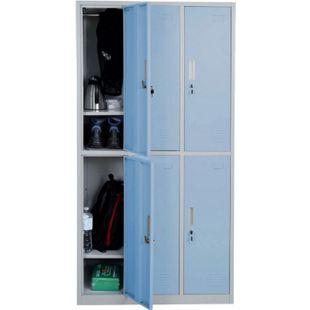 Schließfach Preston T829, Schließfachschrank Wertfachschrank Spind, Metall 6 Fächer ~ blau - Bild 1