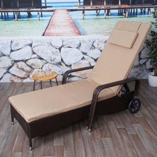 Poly-Rattan Sonnenliege Cesena, Relaxliege Gartenliege Liege, Alu ~ braun, Kissen beige - Bild 1