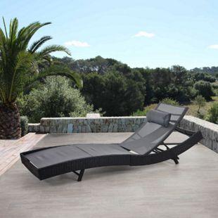 Sonnenliege Phoenix, Relaxliege Gartenliege Liege, Poly-Rattan ~ anthrazit, Bezug grau - Bild 1