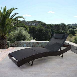 Sonnenliege Phoenix, Relaxliege Gartenliege Liege, Poly-Rattan ~ braun-meliert, Bezug schwarz - Bild 1