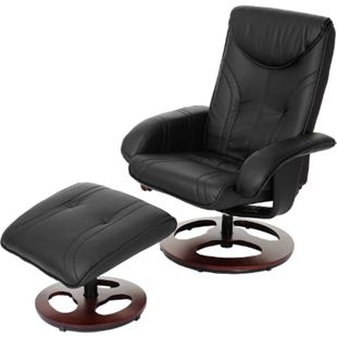 Relaxsessel MCW-C46, Fernsehsessel Sessel mit Hocker, Kunstleder ~ schwarz - Bild 1