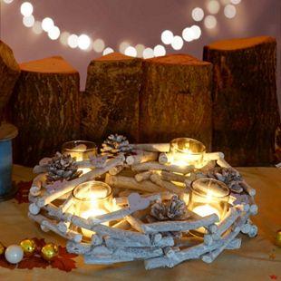 Tischkranz rund mit Teelichthaltern, Adventskranz Weihnachtsdeko Adventsgesteck, Holz Ø 30cm weiß-grau - Bild 1