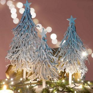 3er Set Weihnachtsbaum, S+M+L Dekobäume Christbaum Dekotanne 60/28/12cm weiß-grau - Bild 1