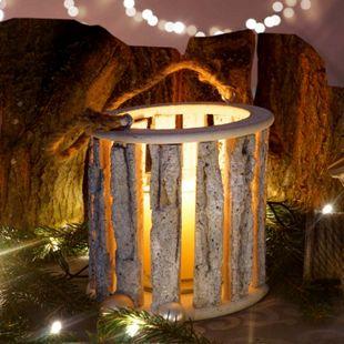 Hängelaterne 36cm, Windlicht Kerzenhalter mit Glaseinsatz 10cm, weiß-grau - Bild 1