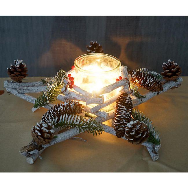 Tischkranz Stern, Weihnachtsdeko Adventskranz, Holz mit Kerzenglas 40x40x12cm weiß-grau - Bild 1