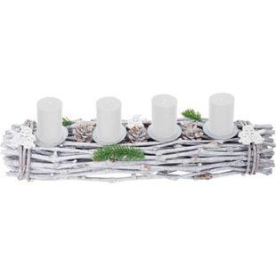 Adventsgesteck länglich, Weihnachtsdeko Adventskranz, Holz 60x16x9cm weiß-grau ~ mit Kerzen, weiß - Bild 1