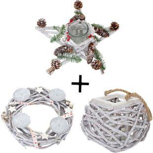 3er Set Adventskranz + Windlicht + Tischkranz Stern, Weihnachtsdeko Gesteck mit Glaseinsatz - Bild 1