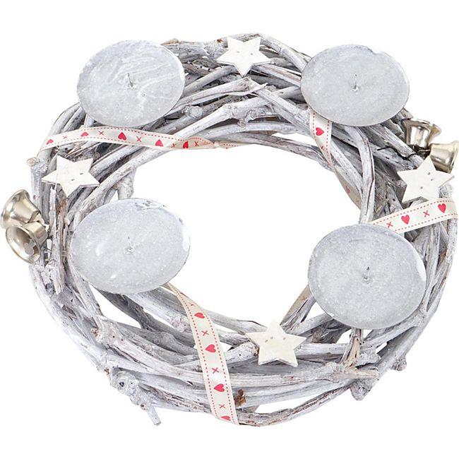Tischkranz rund, Adventskranz Weihnachtsdeko, Holz Ø 30cm weiß-grau ~ ohne Kerzen - Bild 1