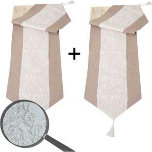 2x Tischdecke Glitzer, Tischläufer Tischdeko Mitteldecke, beige Glanz-Effekt 180x33cm - Bild 1