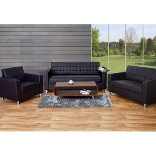 3-2-1 Sofagarnitur Pori, Couch Loungesofa Kunstleder, Metall-Füße ~ coffee - Bild 1